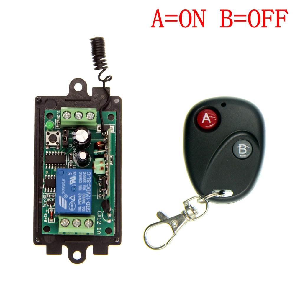DC 9V 12V 24V 1 CH 1CH RF Wireless Remote Control Switch System,315/433 MHz Transmitter + Receivers,Latched (A=ON B=OFF) 12v 1ch rf wireless remote control switch system 12 receivers