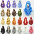 Curly Wavy Hair 75cm Long Cosplay Synthetic Natural Daily wigs 24 Colors Full Lace Fashion Women Hair Harajuku Anime wig 9-24#