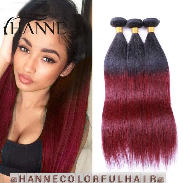 Ombre Brazilian Hair Straight 3pcs 1b99j Dark Roots Burgundy End