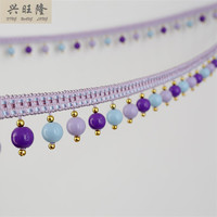6M Lot Colorful Plastic Beads Curtain Lace Accessories Tassel Fringe Trim Ribbon DIY Sewing For Sofa