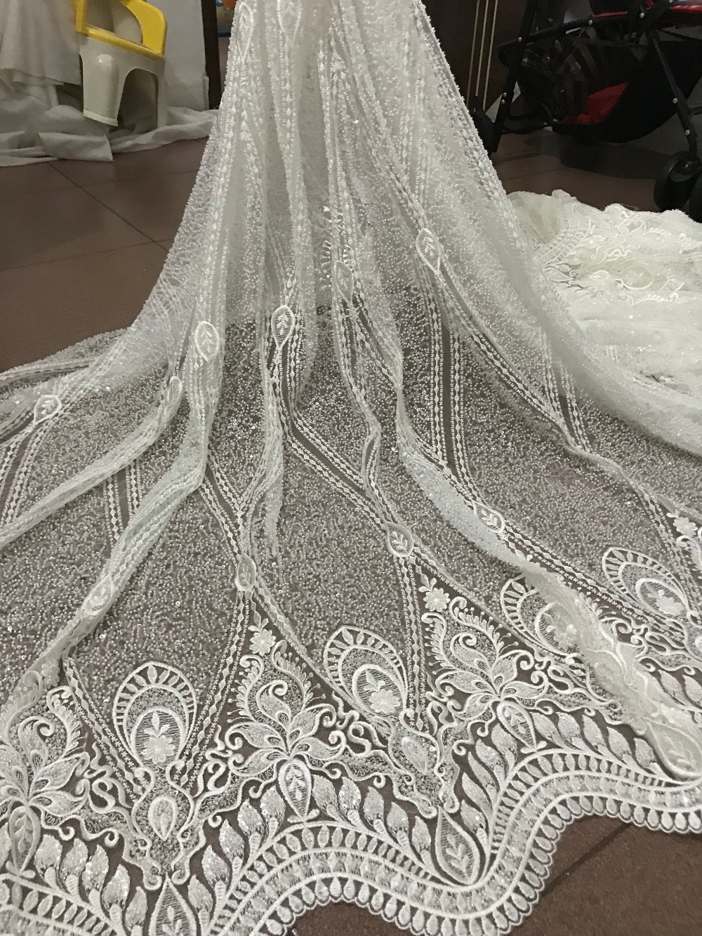 High grade tulle embroidery lace African French net lace fabric ZH-53122 with full tube beadsHigh grade tulle embroidery lace African French net lace fabric ZH-53122 with full tube beads