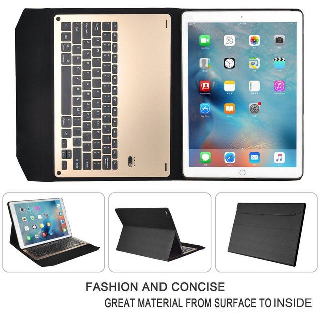 Luxury Detachable Bluetooth Ultra-thin aluminum Keyboard case smart cover with Stand For Apple iPad Pro 12.9'' & pen luxury aluminum watch