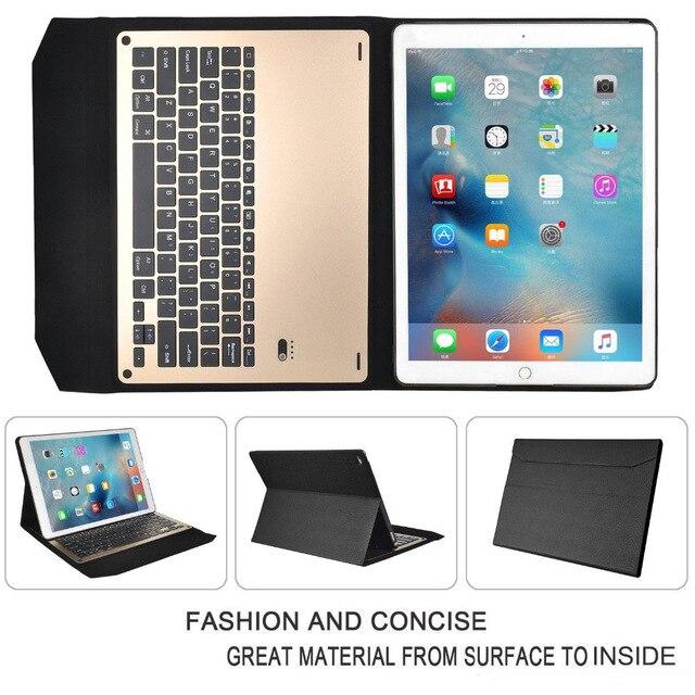 все цены на  Luxury Detachable Bluetooth Ultra-thin aluminum Keyboard case smart cover with Stand For Apple iPad Pro 12.9'' & pen  онлайн
