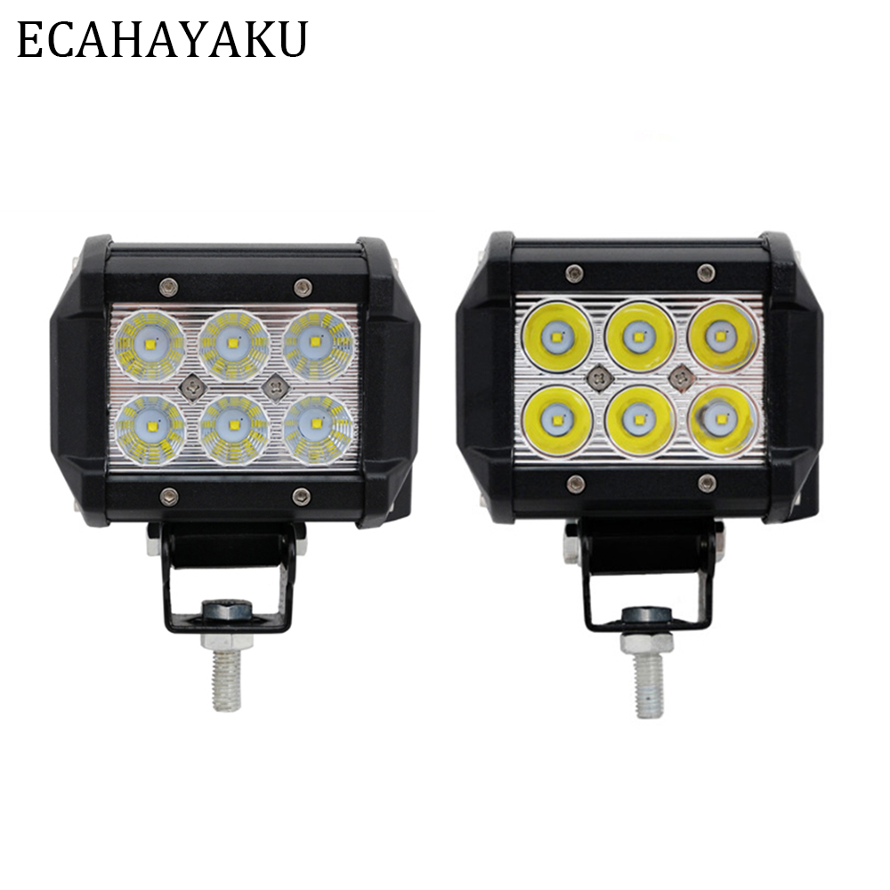 ECAHAYAKU 1 Pair Led DRL 18W 4inch Spot Flood Working Lights bar 12V 24V for Offroad Lada Niva Uaz Toyota Audi Mazda BMW
