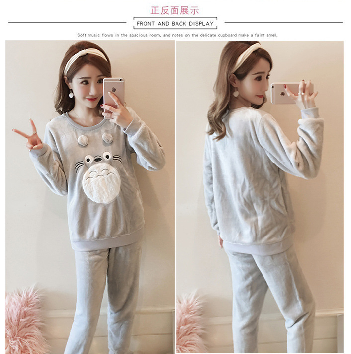 High Quality Women Pajama Sets Winter Soft Thicken Cute Cartoon Flannel Sleepwear 2 pcs/Set Tops + Warm Pants Home Clothes Mujer 110