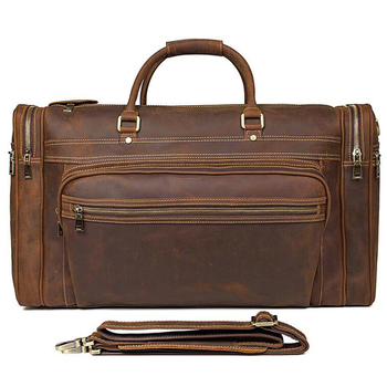 ANAPH Holdall/ Genuine Leather Bag For Men In Brown/ Large Men's Weekender Travel Duffle Bags 23 Inch/ Carry On Luggage 1