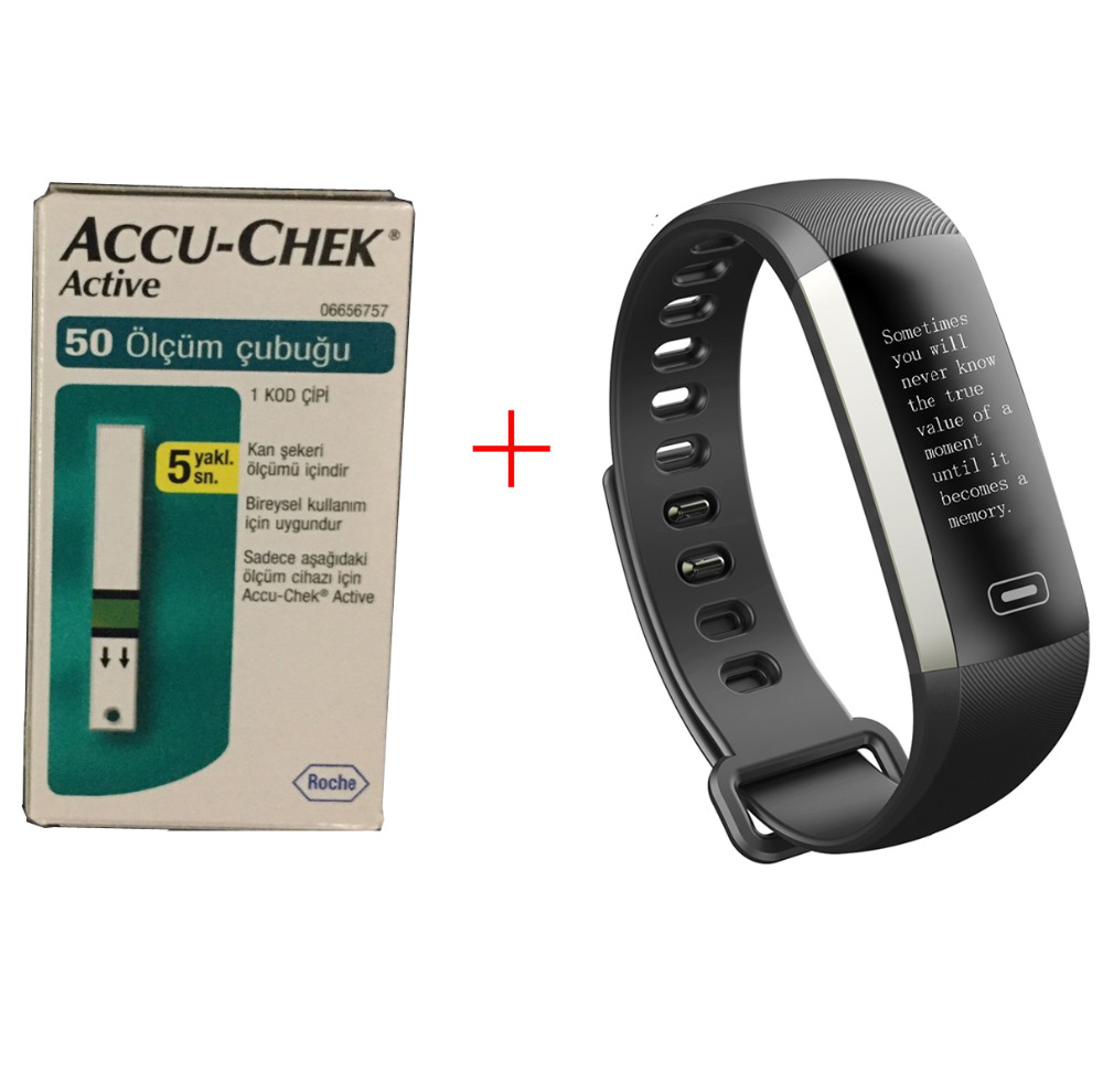 Accu Chek Fitness Bracelet 50 words blood pressure oxygen heart rate Accurate 50 Pieces Blood Glucose