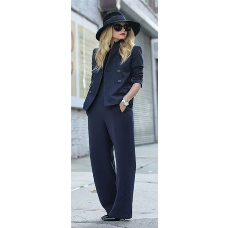 New Bespoke Navy Womens Business Suits Double Breasted Female Office Uniform Pants Suits ...