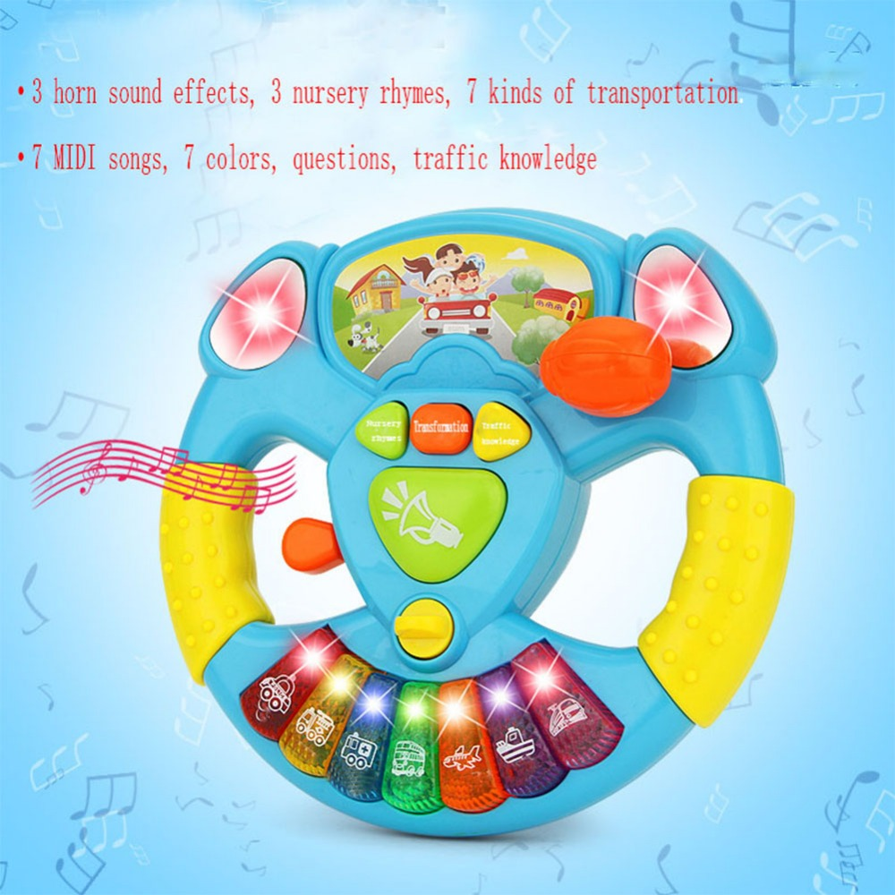 LeadingStar Electric Toy Musical Instruments For Kids Baby Steering Wheel Musical Developing Educational Toys