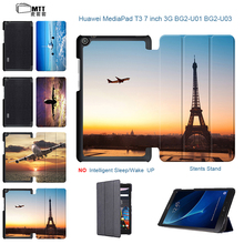 Aircraft Tower Case For Huawei Mediapad T3 7.0 3G BG2-U01 U03 Smart Leather Protective Cover Cases for huawei t3 7 3g 7″ Tablet