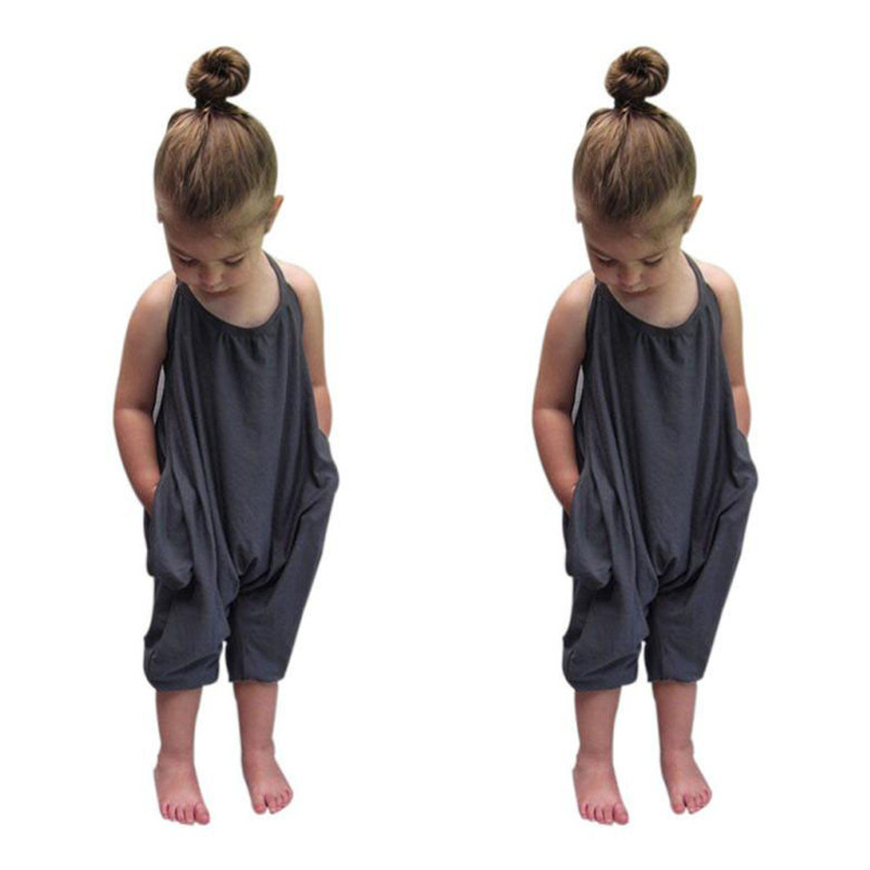 Fashion Toddler Kids Baby Girls Straps Rompers Jumpsuits Piece Pants Clothing