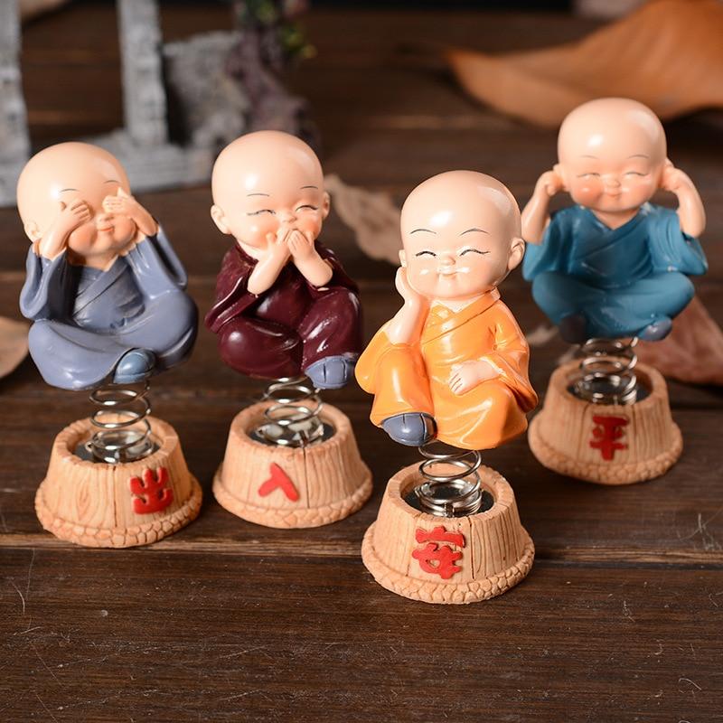Shake Head Monk Chinese Kungfu Monk Figurine Buddha Statue Household Car Decor Spring Baby Dolls Mandala Decor Crafts figurine