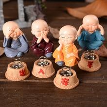 Shake Tead Monk Chinese Kungfu Monk Figurine Buddha Statue Household Car Decor Spring Baby Dolls Mandala