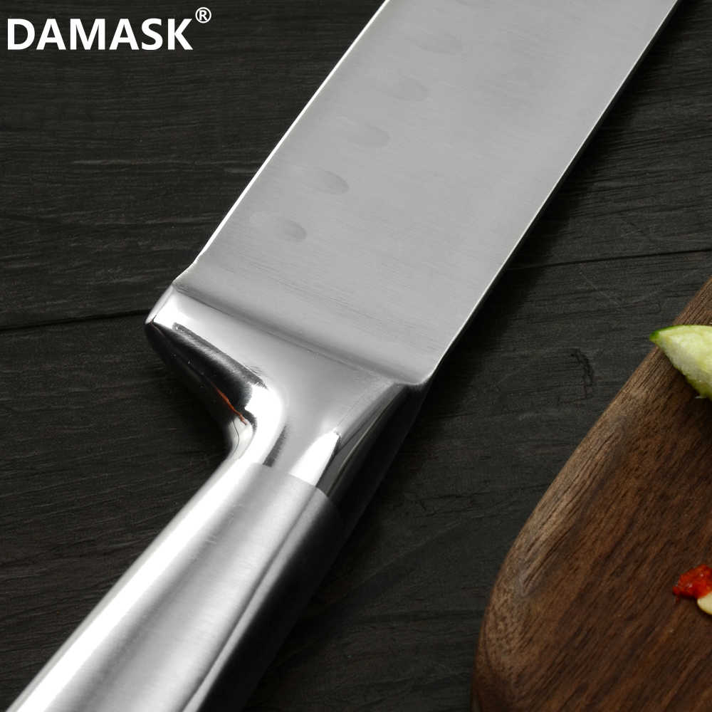 DAMASK Kitchen Knives Stainless Steel Santoku Knife Meat vegetable Knives Ultra-thin Blade Japanese Style Cooking Knife Set