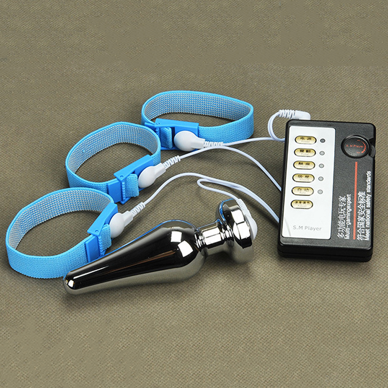 electro shock pulse therapy kit(host box+anal plug+3pcs penis ring)masturbation massage stimulator cock rings butt plug sex toys