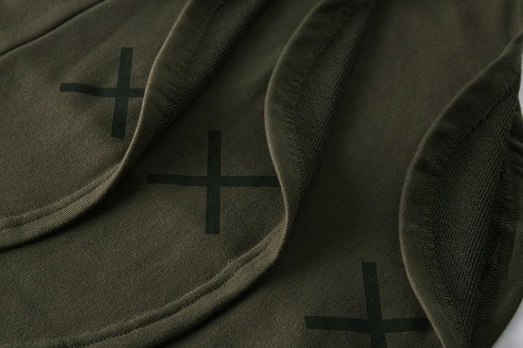 Cross Printed Hip Hop Sweatshirt Men 17Spring Streetwear Curved Hem Side Zipper Plain Mens Sweatshirts and Hoodies Man Clothes 35