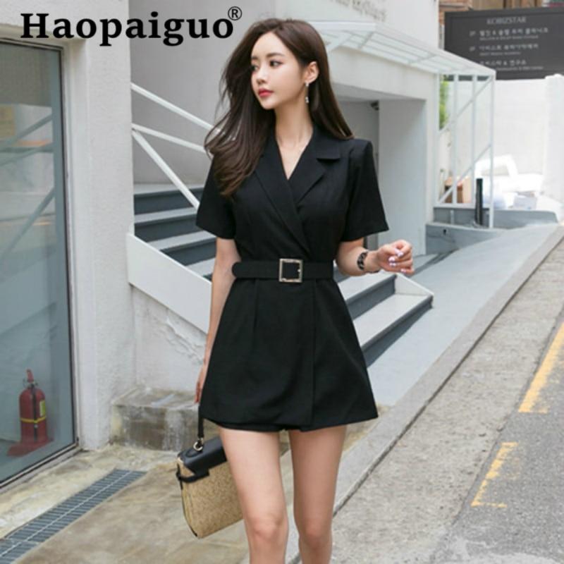 Women Black OL Office Work Jumpsuit Casual Bodysuit Solid Elegant Playsuits 2019 Summer Fashion Wide Leg Short Rompers Plus Size