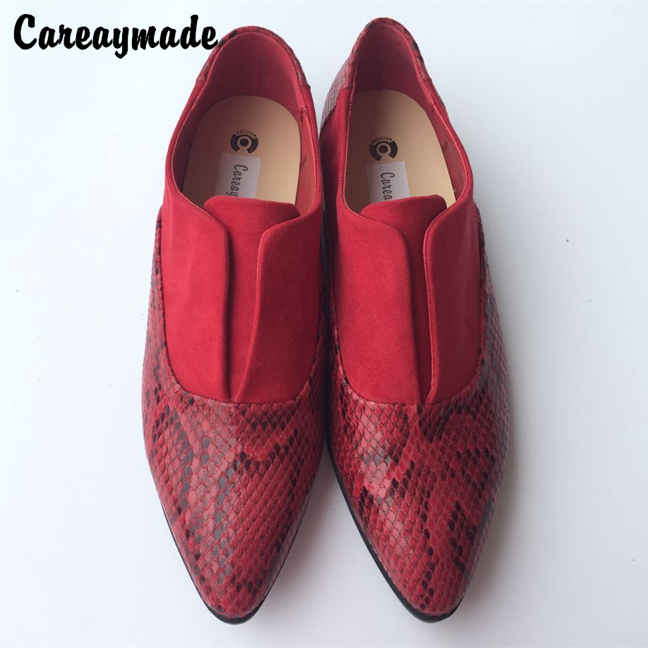 In the spring of 2016 new Europe and America style snakeskin pattern female with coarse mosaic Tip head single shoes,Black&Red
