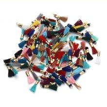 100 unids/lote mezclado colores 16mm largo seda borlas de algodón cordón encantos colgantes para collares y pendientes de la joyería de bricolaje materiales F3516