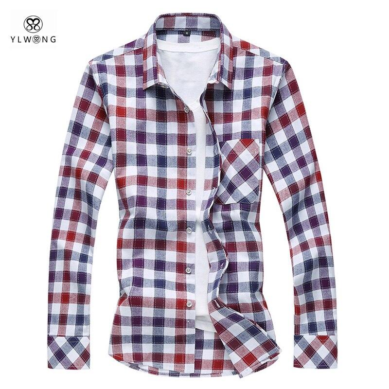 YLWONG Brand Shirt Men Plaid Full Sleeve Cotton Fits Mens Dress Shirts Plus Size 4XL 5XL