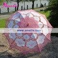 Frete grátis, Battenberg Parasol Do Laço Do Casamento Rosa Quente
