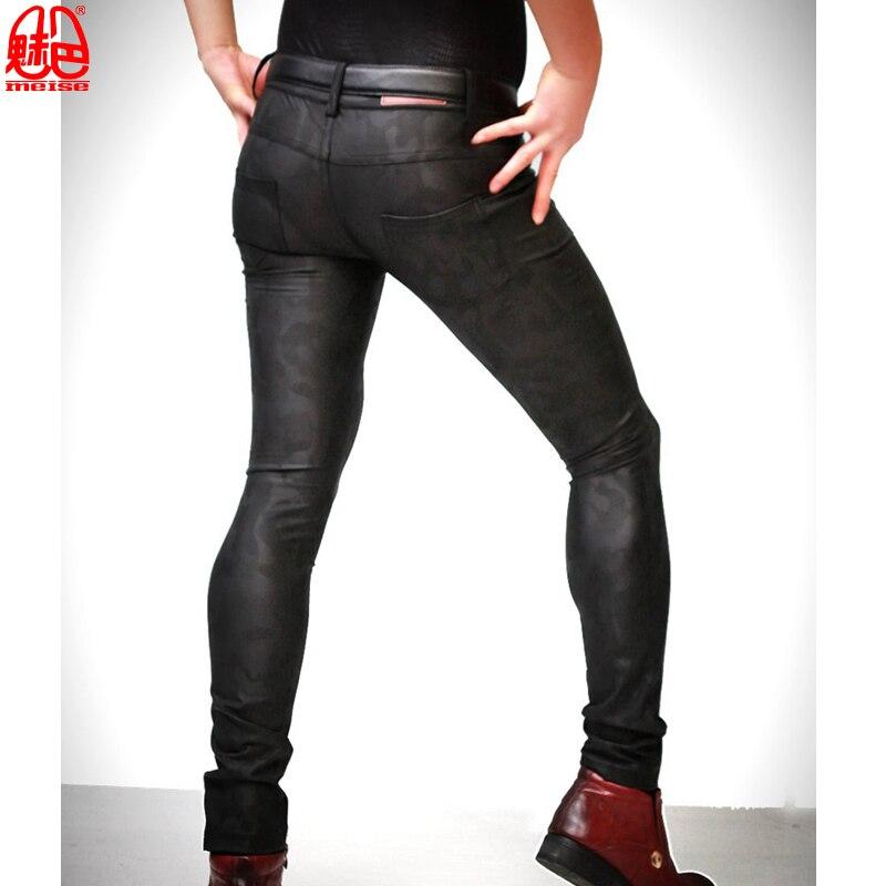 Grande taille Camouflage Punk élastique pantalon serré mince PU Faux cuir pantalon de scène pantalon érotique Lingerie Gay porter F109 pa