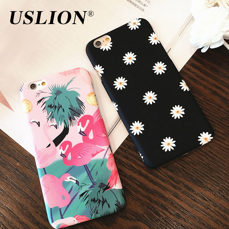 Cute Cartoon Bird Flamingo Case For iPhone 7 Lovely Daisy Flower Leaf Phone Cases Back Cover Capa For iphone7 6 6S Plus 5 5S SE