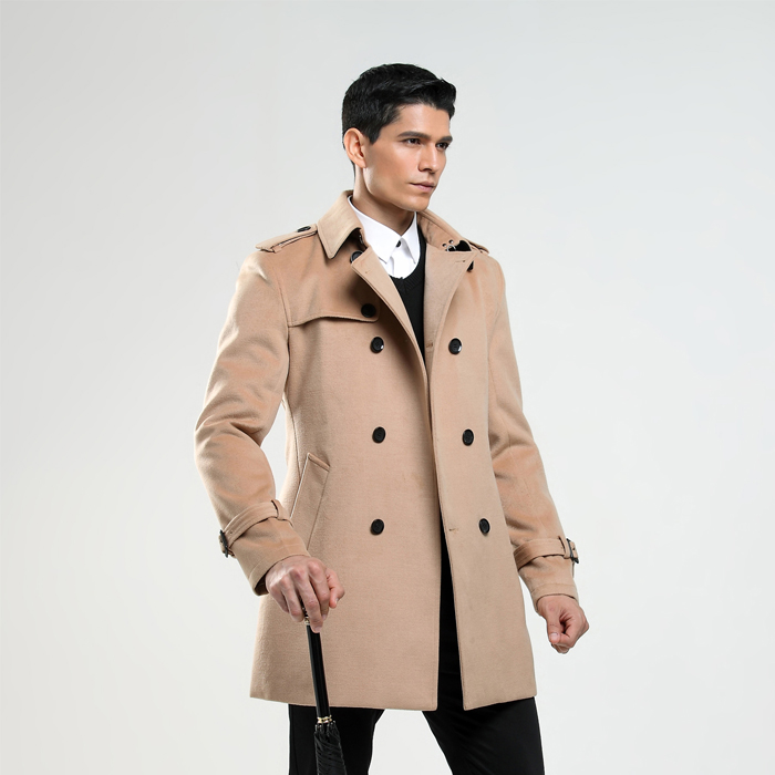 New Arrival  Double Breasted Woolen Coat Male Business Imitation Cashmere Coat Mens British Customize Outwear 4XL 5XL