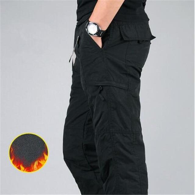Men's Cargo Pants 2019 Winter Casual Warm Thicken Fleece Pants Men Cotton Multi Pockets Combat Military Baggy Tactical Pants 3