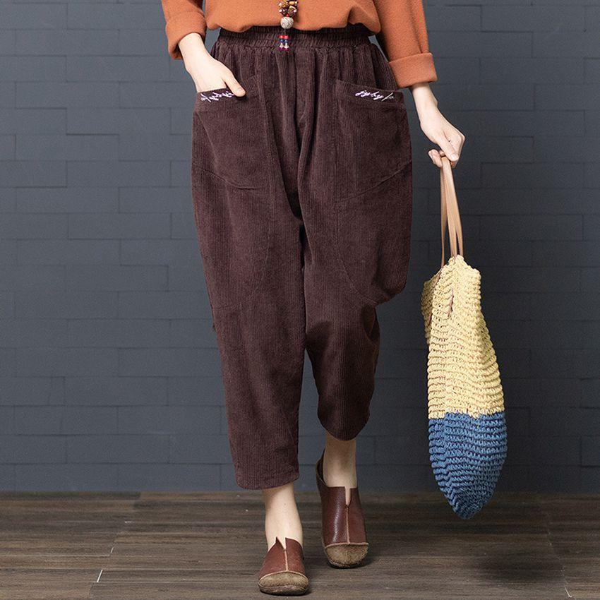 Mferlier Winter Thicken Corduroy   Pants   Elastic Waist Loose Brief Pockets Women Trouser 3 Color Oversize Women   Wide     Leg     Pants
