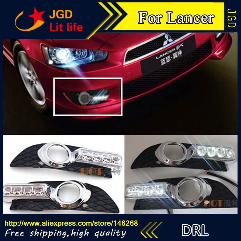 Free shipping ! 12V 6000k LED DRL Daytime running light for Mitsubishi Lancer 2009-2014 fog lamp frame Fog light Car styling car fog lights lamp for mitsubishi triton 2 door 2009 on clear lens pair set wiring kit fog light set free shipping