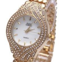 2016 de Moda de Lujo Mujer Reloj de Seis pines Con Incrustaciones de diamantes de Imitación Relojes de Cuarzo 18 K chapado en Oro Del Reloj