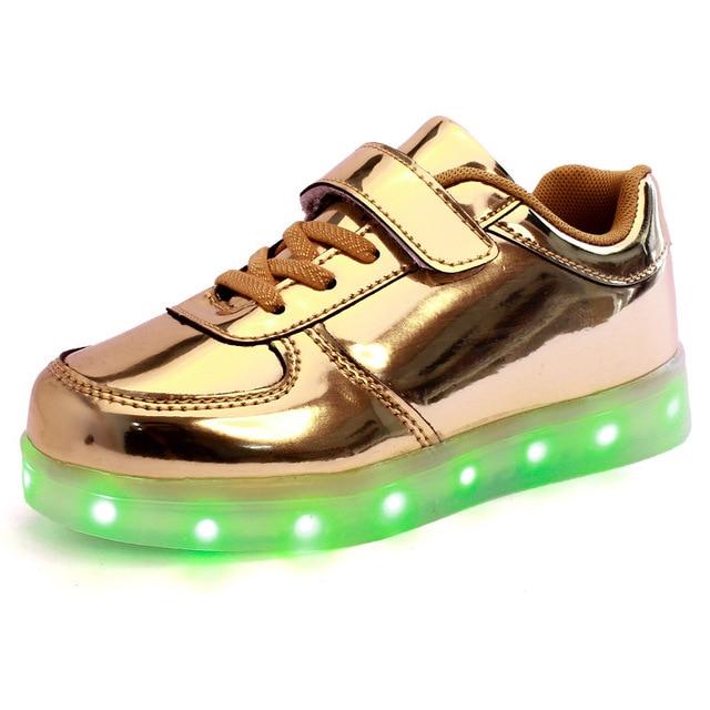 Продажи Новых Детей Способа USB Зарядки Единственным Светящиеся Кроссовки Дети Светодиодные Обувь Девушки Парни Легкую Обувь золото серебро фиолетовый