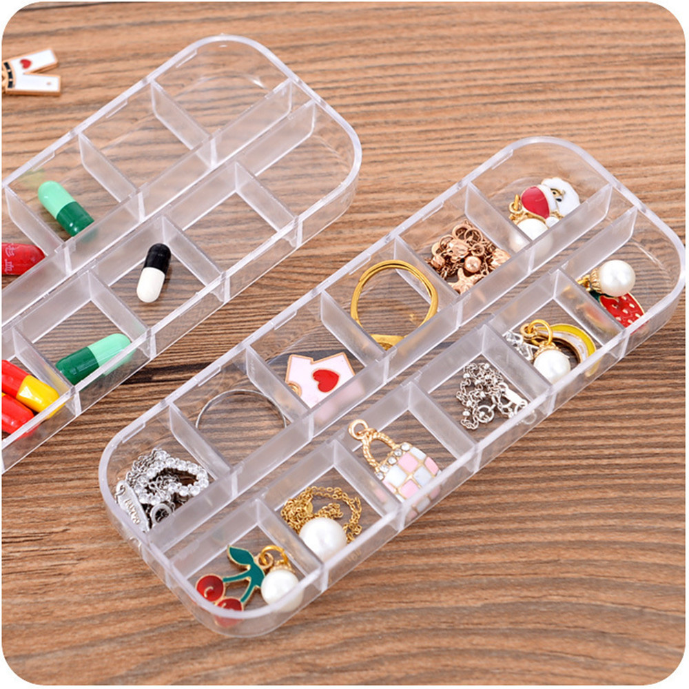10 Grids Home Transparent Plastic In The Desk Jewelry Box Mini Jewelry Small Box Duojia Earrings Smaller Size Organizer 10Jun 8