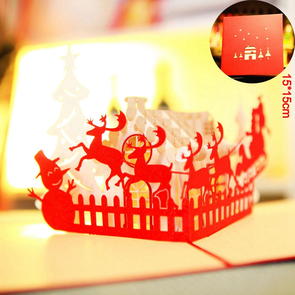 Merry Christmas House 3D laser cut pop up paper handmade postcards custom greeting cards gifts wishes decor party supplies 9012R 3pcs flying xmas santa ride greeting cards 3d laser cut pop up paper handmade postcards christmas party gifts supplies souvenirs