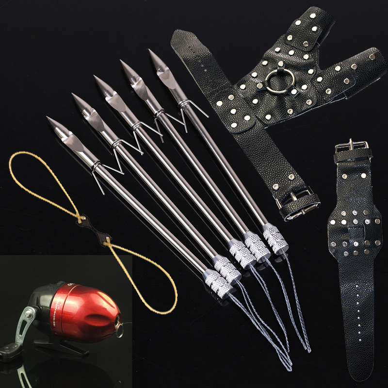 Outdoor Fishing Sports Fish Hunting DIY Slingshot Catapult Wristband Hand Guard Rubber Band Reel Sling Shot Bow Set