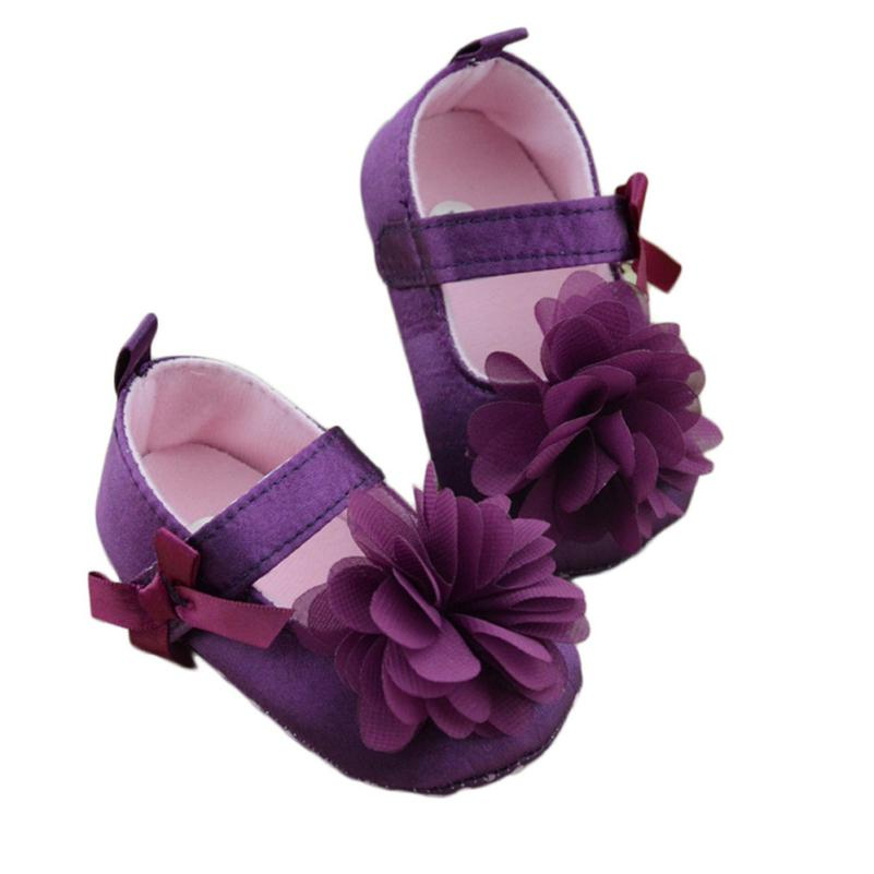 Baby Toddler Shoes Infant Toddler Flower Purple Soft Sole Kid Girls Baby Crib Shoes Prewalker 0-18 Months 17Dec27