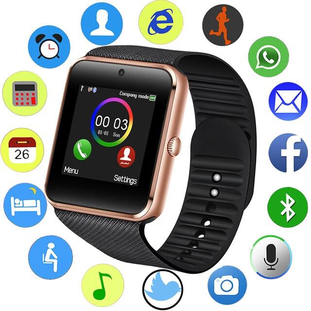 2019 Bluetooth Relógio Inteligente Homens Relógio Do Esporte Pedômetro LED Cor da Tela de Toque Apoio Câmera SIM Smartwatch Relógio inteligente