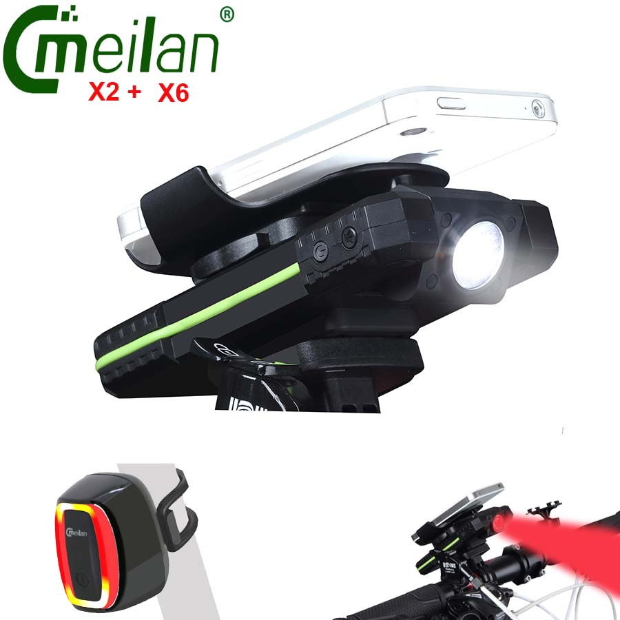 Cycling front headlight Meilan Bicycle light Usb Bike Taillight LED Mobile Phone Holder Power bank Lamp gaciron 1000lumen bicycle bike headlight usb rechargeable cycling flashlight front led torch light 4500mah power bank for phone