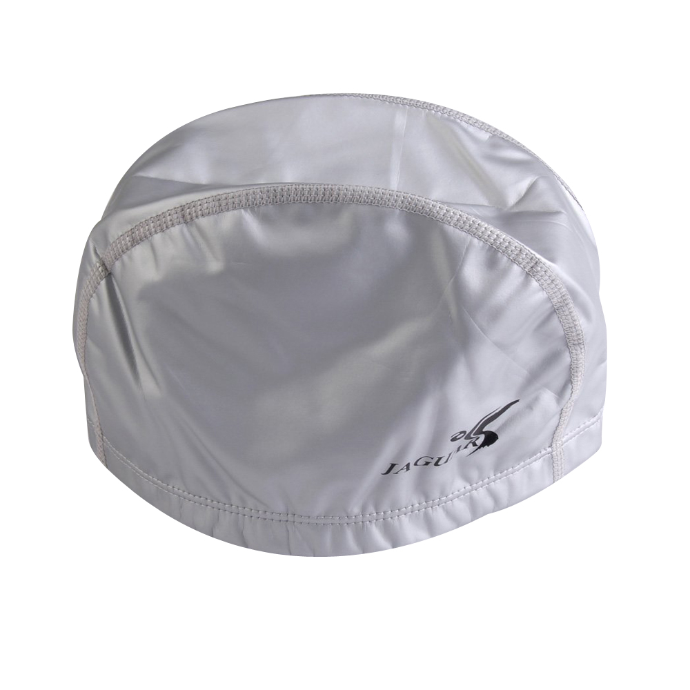 Hot JAGUAR New Adult PU Coating Waterproof Nylon Swim Cap Swimming Hat Lightweight (Silver)