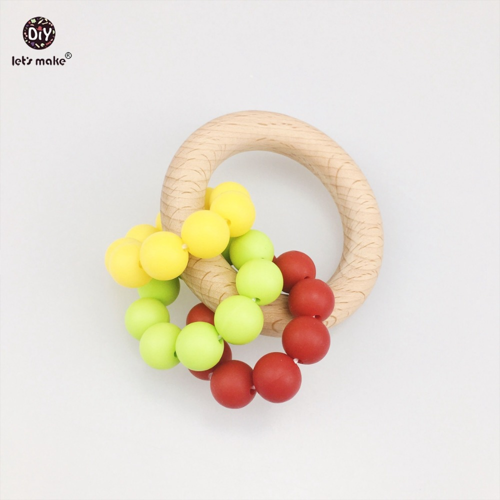 Lets Make Baby Accessories 2pc Chew Silicone Beads BPA Free DIY Jewelry Car Seat Toy Nursing Beech Wood Ring Baby Teether
