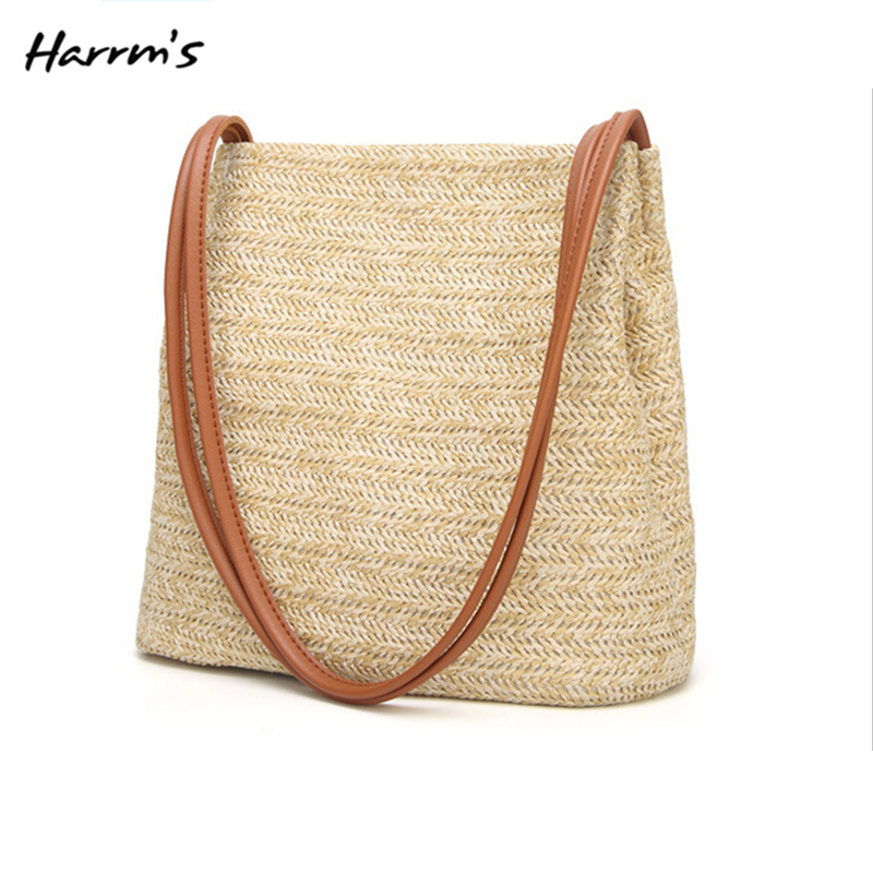 2018 New 3 Color Beach Straw Bag For Summer Big Straw Bags Handmade Woven Tote Women Travel Handbags High Quality Girls Gift