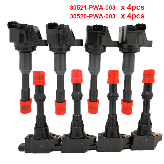 8pcs Front Rear Ignition Coil System Fit Honda Civic 7 8 VII VIII JAZZ FIT 2 3 II III 1.2 1.3 1.4 30520PWA003 <font><b>30521PWA003</b></font> image