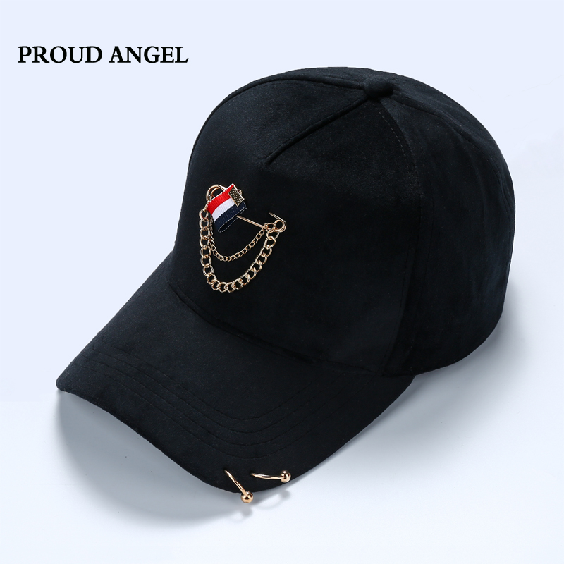 New Summer Solid Ring Safety Pin Curved Hats Fashion Hoop Baseball Cap Women Men Sun Cap Snapback Hip Hop Caps Casquette Gorras cacuss new metal anchor baseball cap men hat hip hop boys fashion solid flat snapback caps male gorras 2017 adjustable snapback