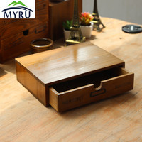 Wooden Small Drawer Storage Box Office Desk/ Household Bedside Sorting Storage Box
