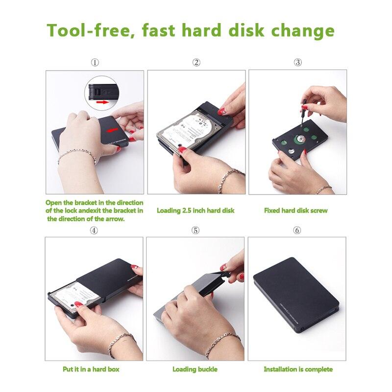 "Image 5 - Корпус жесткого диска портативный алюминиевый HDD коробка, SATA к USB 3,0 адаптер для 2,5 ""SSD HDD внешний жесткий диск чехол"