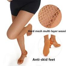 Sexy rede dura meia mulher profissional fishnet meias de dança latina meias para mulher
