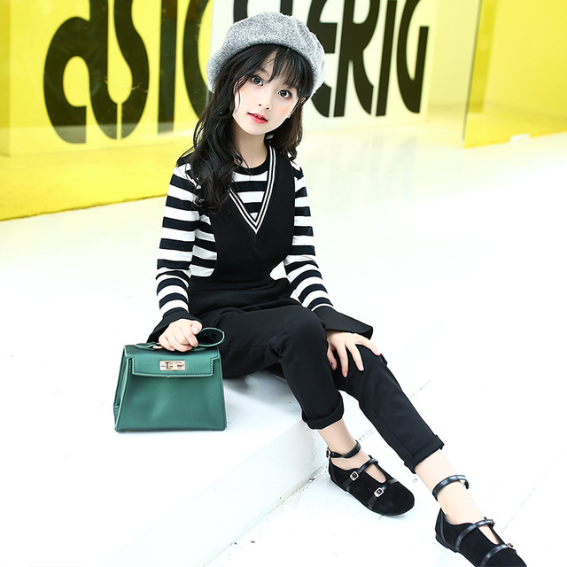 f4c619af7393d 2018 New Fashion Girls Clothes Set Teenage Baby Girl Fall Clothes Brand  Children Clothing Long Sleeve Striped Shirt + Jumpsuit -in Clothing Sets  from ...