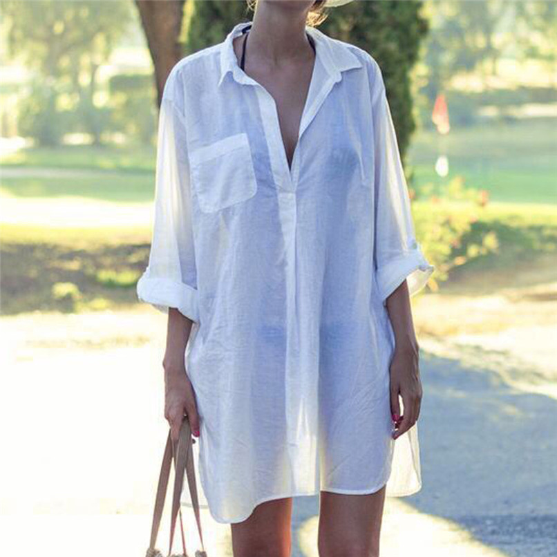 Pockets White   Blouse     Shirt   2018 Summer Beach Cover Up Swimwear Hollow Out Sexy Hot Swimsuits Outerwear Cover-Ups 40OC18