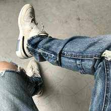 High Quality Ankle-Zipper Dtstressed Jeans Kanye Slim Vintage Blue Biker